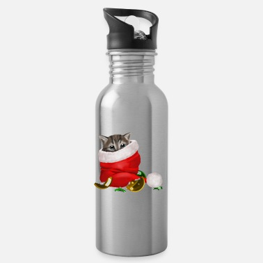 2019 Cat / Cat Christmas decorated with love - Water Bottle