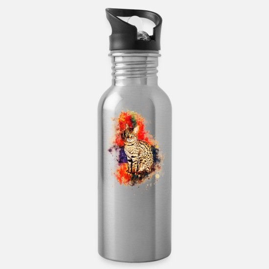 Africa Mugs & Drinkware - Savannah Cat No2 - Water Bottle silver