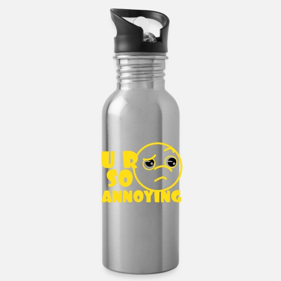 Birthday Mugs & Drinkware - A cute & Cool Saying Annoying Tee U R SO Annoying - Water Bottle silver