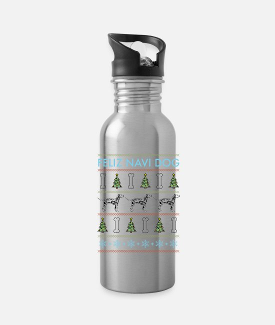 Dalmatian Mugs & Drinkware - Dalmatian - Feliz Navi Dog - Water Bottle silver