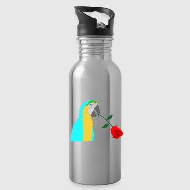 Roses Parrot Romantic Romantic Gifts - Water Bottle
