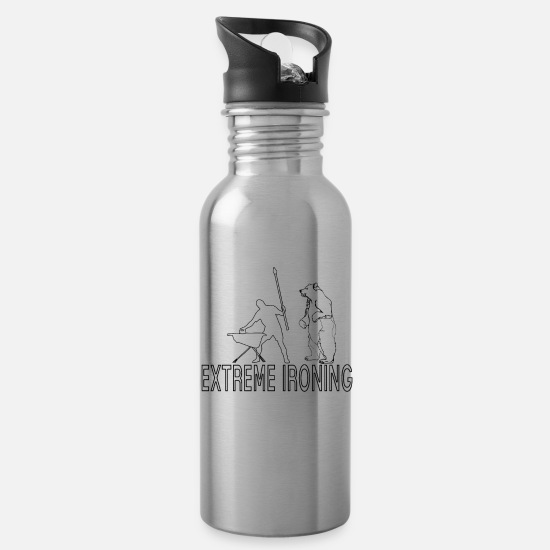 Gift Idea Mugs & Drinkware - extreme ironing - Water Bottle silver