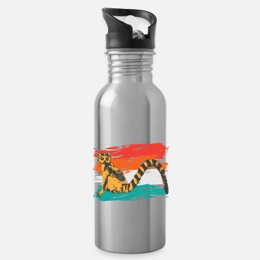 Colorful retro lemur used look - Water Bottle