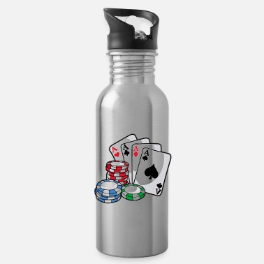 Holdem POKER Cards Poker Chips Texas Holdem Gift - Water Bottle