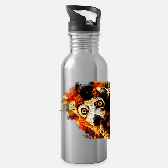 Forest Mugs & Drinkware - Maki Lemur Monkey ws std - Water Bottle silver