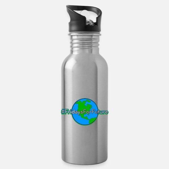 Gift Idea Mugs & Drinkware - Fridays For Future Stop Climate Co2 Protest Gift - Water Bottle silver