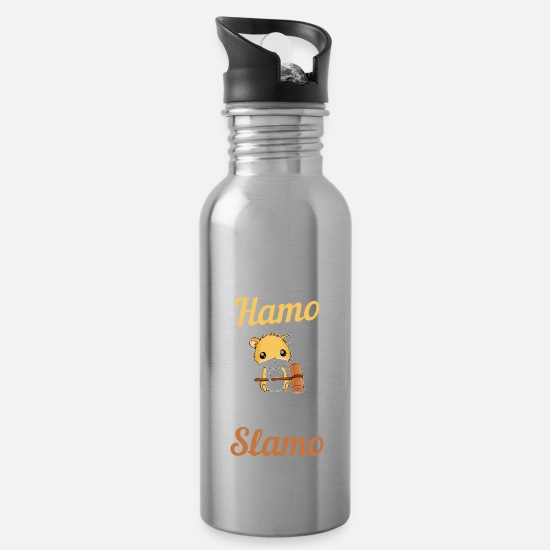 Funny Mugs & Drinkware - Hamster Pet Animal Kid Rodent Funny - Water Bottle silver
