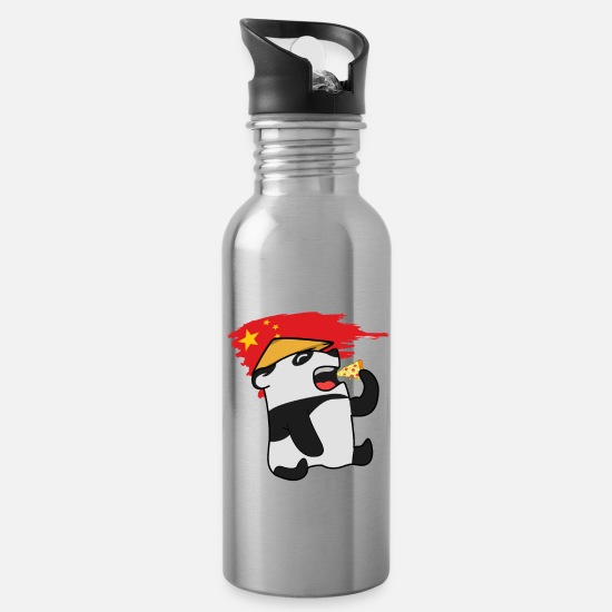 Caricature Mugs & Drinkware - Pizza and Vietnamese Panda Pizza and Vietnamese - Water Bottle silver