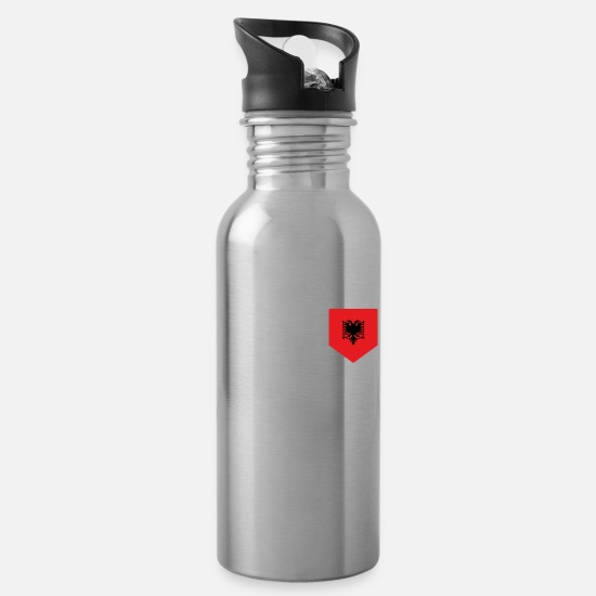 Flag Mugs & Drinkware - Albania Albanian country flag - Water Bottle silver