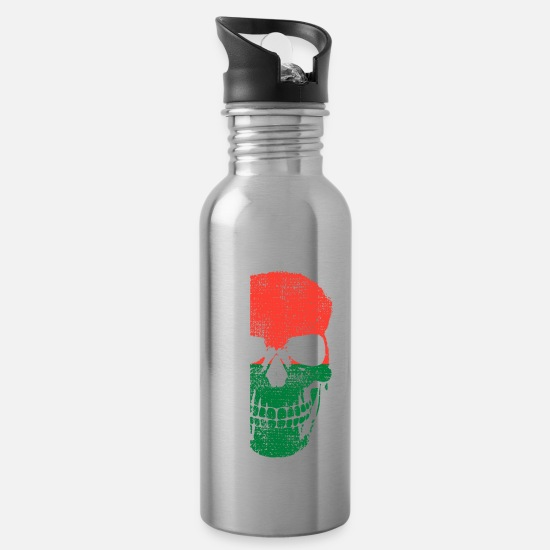 Tourist Mugs & Drinkware - Madagascar flag skull - Water Bottle silver