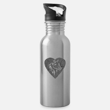 Decorated Top Horse Heart Love Girl Gift Design - Water Bottle
