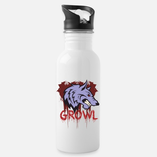 Growl Mugs & Drinkware - Wolf growls - Water Bottle white