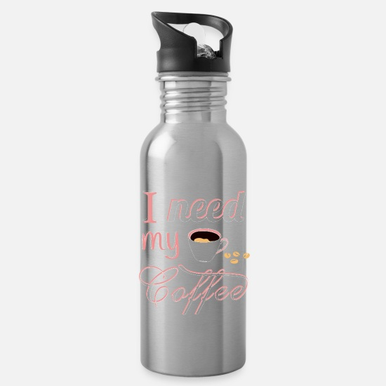 Coffee Bean Mugs & Drinkware - Coffee cappuccino caffeine cafe latte macchiato - Water Bottle silver