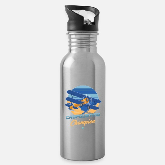 Fly Mugs & Drinkware - Airplane - Agricultural Airplane - Farm Airplane - Water Bottle silver