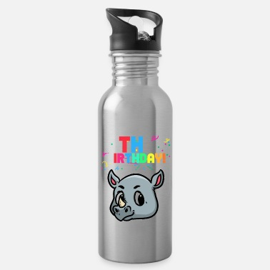 Wide Mouth Rhino 2 birthday rhinoceros for kids that will become two - Water Bottle