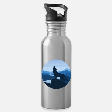 Water Wolf steppe night moon fable magic nature gift - Water Bottle