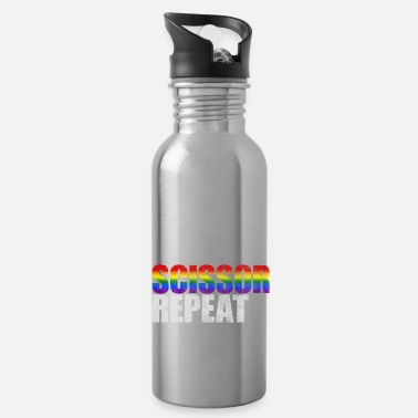 Gay Rights LGBT flag woman lesbian gay scissors - Water Bottle