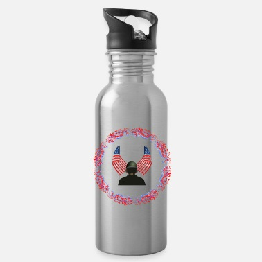 Military Vertigo American Soldier Patriot - Water Bottle