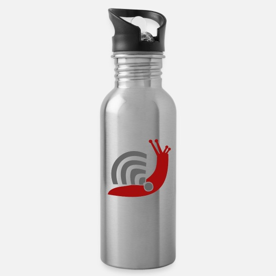 Snail Mugs & Drinkware - INTERNET SNAILNET - Water Bottle silver