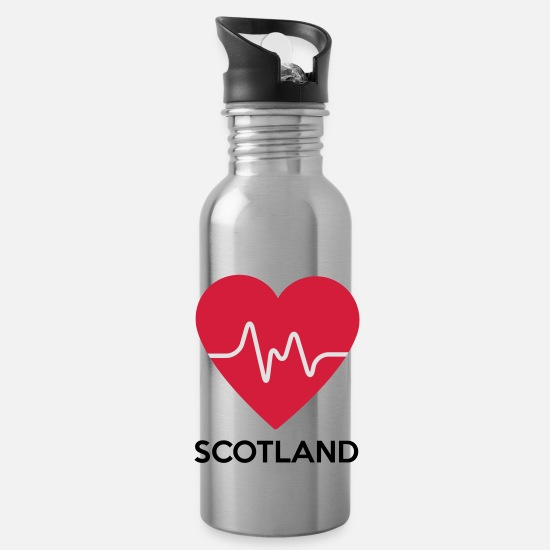Love Mugs & Drinkware - heart Scotland - Water Bottle silver