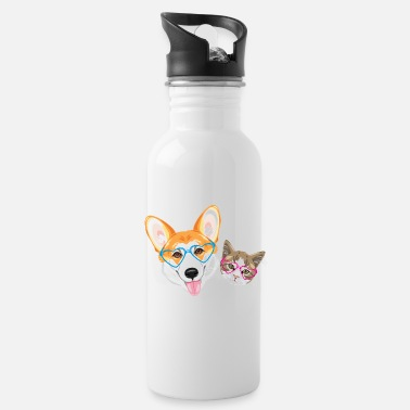 Happy welsh corgi and cute cat - Water Bottle