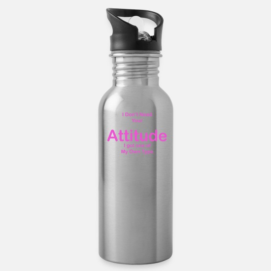 Quotes Mugs & Drinkware - Attitude quote - Water Bottle silver