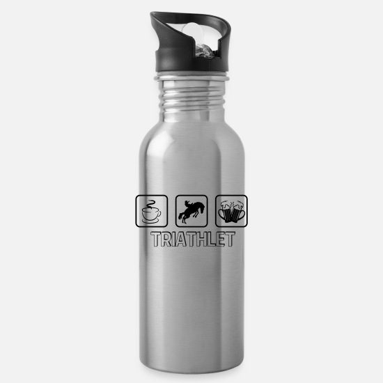 Horse Mugs & Drinkware - Triathlete horse - Water Bottle silver