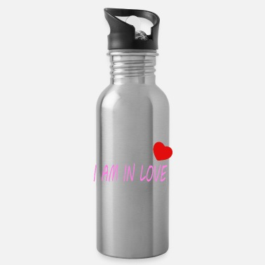 Red Heart I am in love - with a heart - Water Bottle