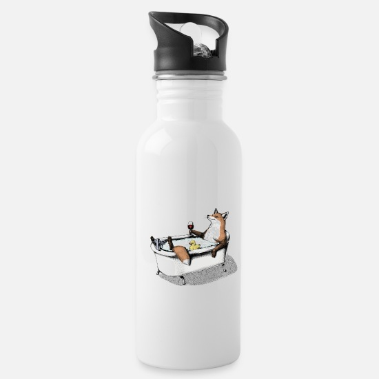 Animal Mugs & Drinkware - Fox Bath - Water Bottle white