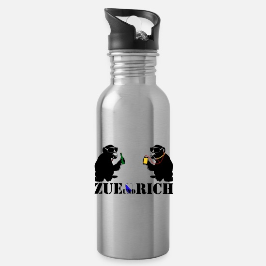 Alcohol Mugs & Drinkware - zue and rich - Water Bottle silver