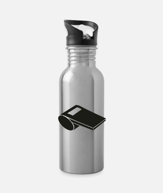 Red Card Mugs & Drinkware - Whistle - Water Bottle silver