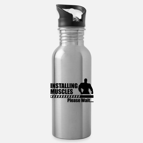 Funny Gym Mugs & Drinkware - Funny gym - Installing Muscle - Water Bottle silver