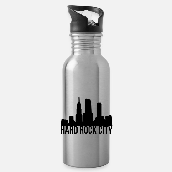 Hard Rock Mugs & Drinkware - hard rock - Water Bottle silver