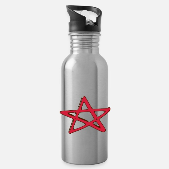 Symbol  Mugs & Drinkware - Pentagramm Fivestar Star witch goth metal evil - Water Bottle silver