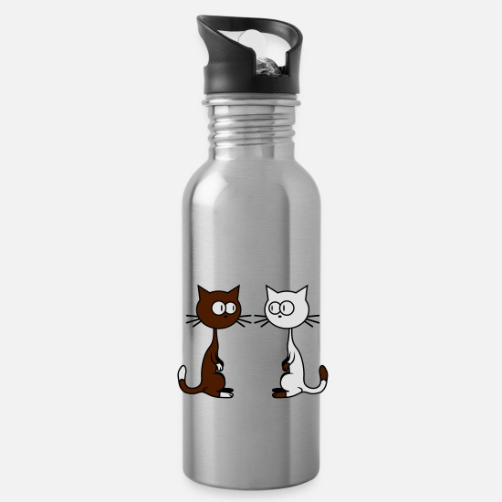 Love Mugs & Drinkware - Comic Cats - Water Bottle silver