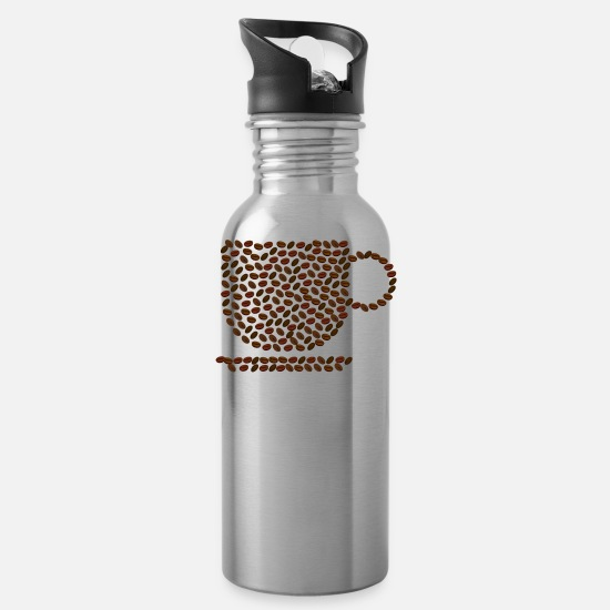 Coffee Bean Mugs & Drinkware - Coffee cup from coffee beans - Water Bottle silver