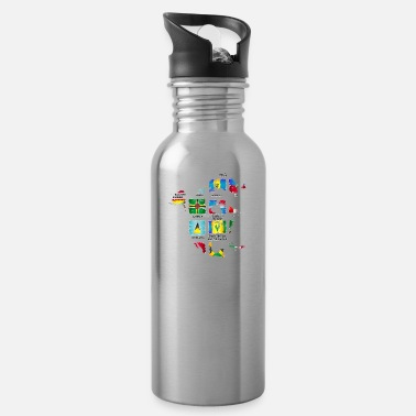 Nort America North America with flags - Water Bottle