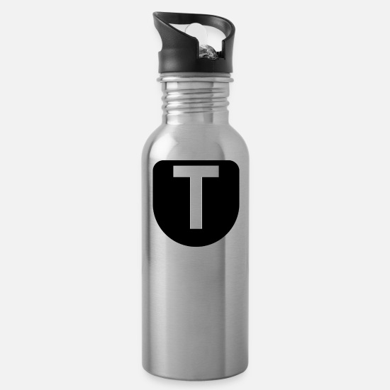 Gift Idea Mugs & Drinkware - The letter T - Water Bottle silver