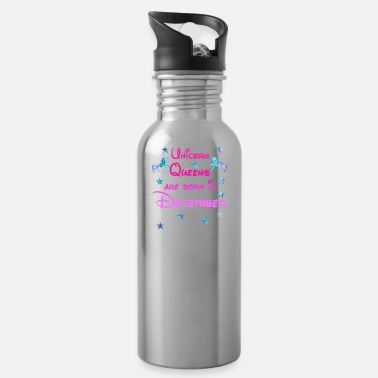 December Unicorn Queens born December december - Water Bottle
