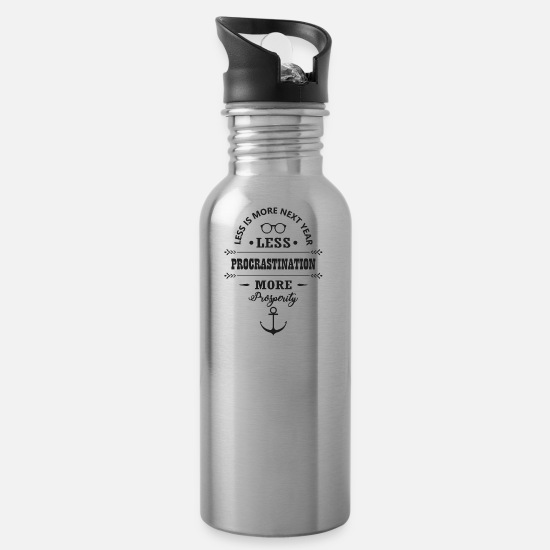 Wealth Mugs & Drinkware - Good Resolution Gift Hustle Work Prosperity - Water Bottle silver