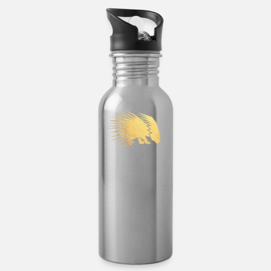 Wealth Mugs & Drinkware - gold porcupine - Water Bottle silver