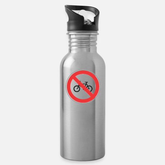 Road Construction Mugs & Drinkware - Road sign no bicycles - Water Bottle silver