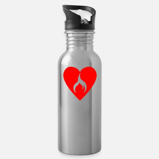 Gift Idea Mugs & Drinkware - burning Heart - Water Bottle silver