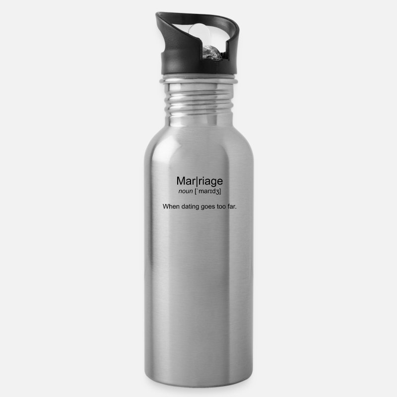 Gift Idea Mugs & Drinkware - Definition: Marriage wedding - Water Bottle silver