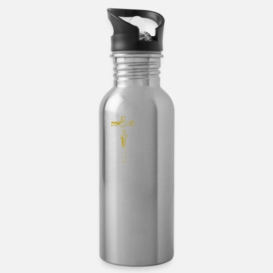 Gold Mugs & Drinkware - Jesus Team Christ Bible God Church Pope Gift - Water Bottle silver