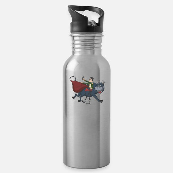 Bullfighting Mugs & Drinkware - Bullfighter Matador self portrait - Water Bottle silver