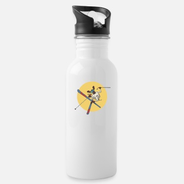 Slope German Shorthaired Pointer dog skiing on skis - Water Bottle