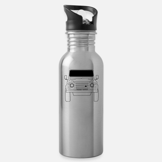 Land Mugs & Drinkware - Land Rover Defender Front - Water Bottle silver