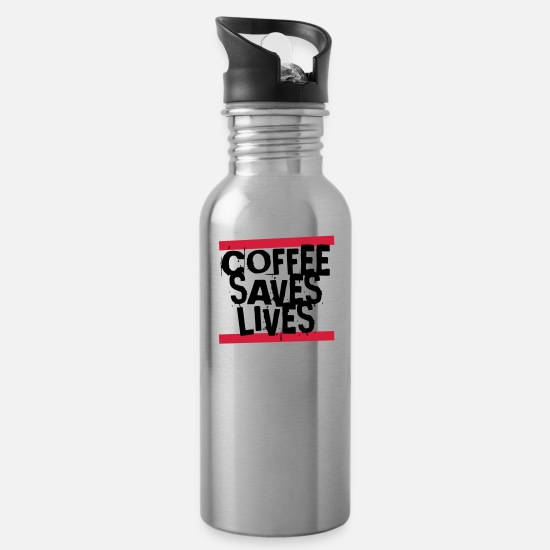 Gift Idea Mugs & Drinkware - COFFEE SAVES LIVES - Water Bottle silver