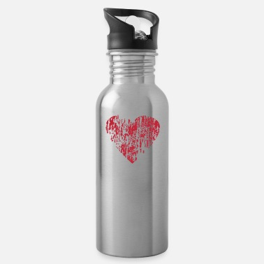 Distress Distressed Heart - Water Bottle